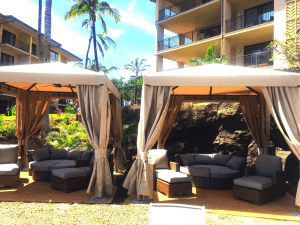 luxury poolside cabanas at koloa