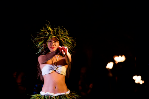 traditional hawaiian luau hula dance at koloa on kauai